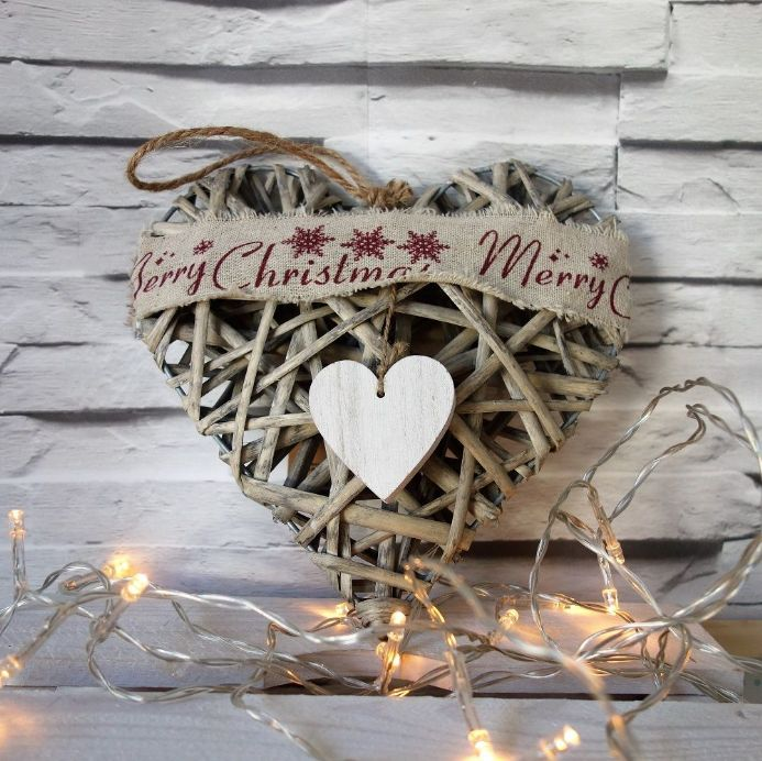 50% OFF Rustic Distressed Willow Heart- Merry Christmas